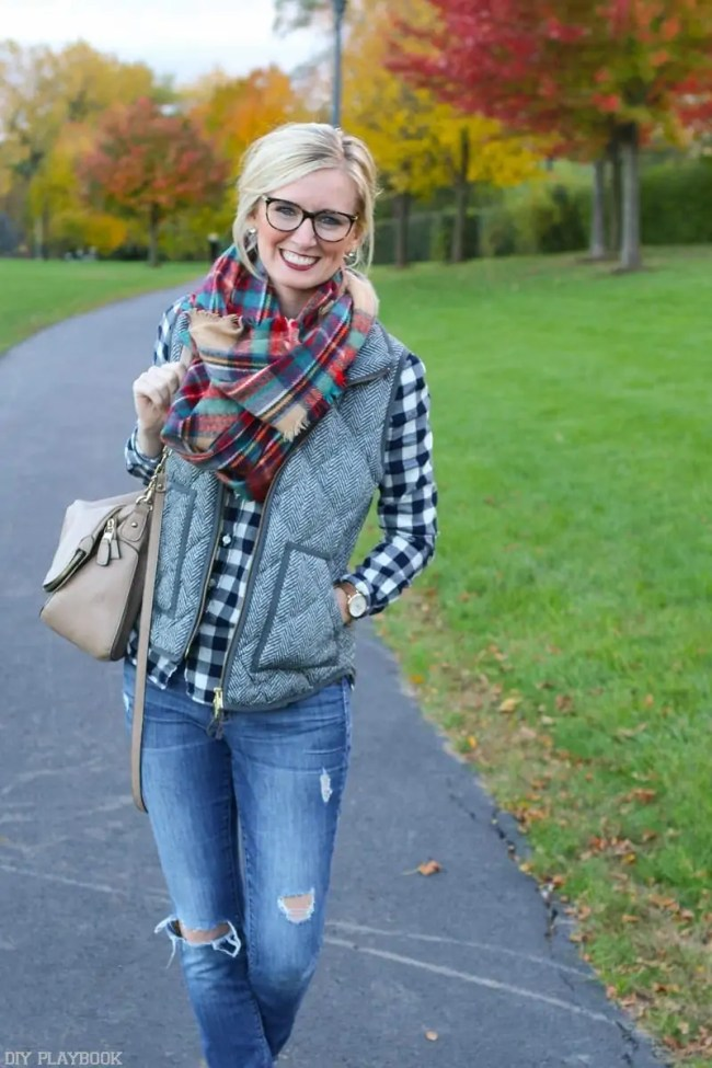 bridget-plaid-scarf-laughing