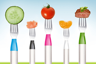 Hapiforks with colorful food