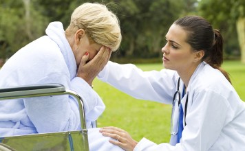Doc comforting distraught patient 1100px (Veer)