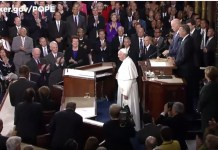 Pope Francis addressing congress (screen shot Boehner YouTube video)