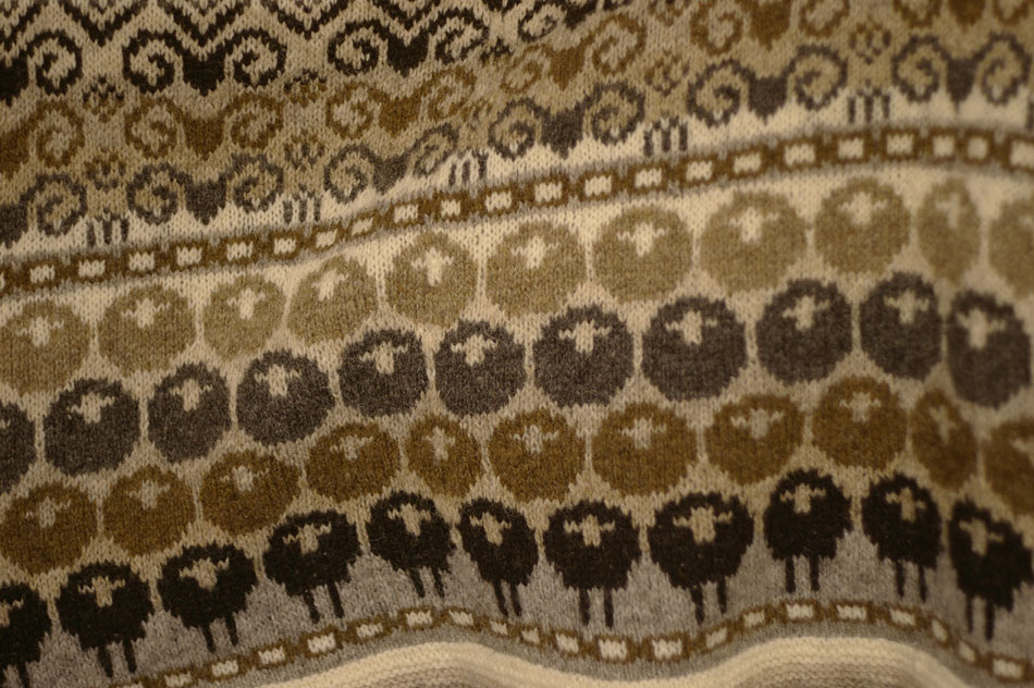 Rams and Yowes by Kate Davies, knitted by Sandra Manson, on display in Jamieson & Smith Shetland Woolbrokers