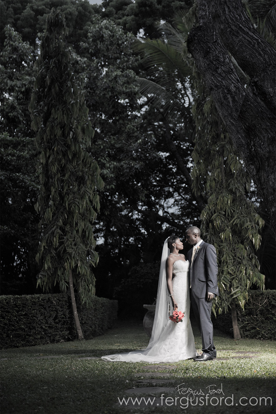 Wedding photography by my talented brother Fergus Ford! Beautiful composition with the trees and the happy couple © Fergus Ford
