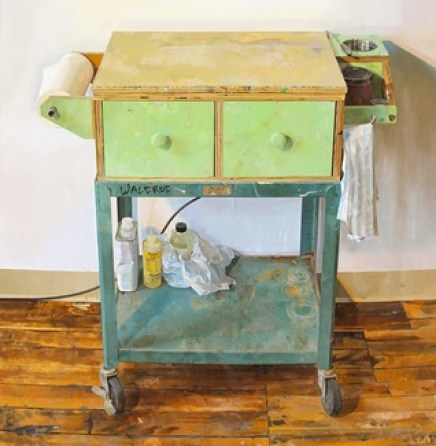 Paintiing Cart, detail, Prett Eberhardt, oil on panel, 69.5 x 41