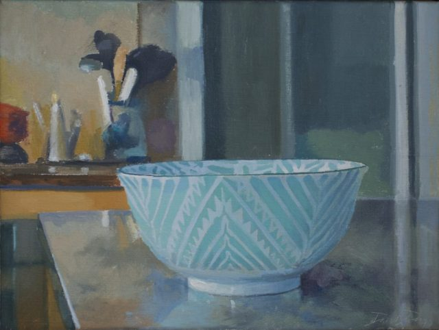 "Chevron Bowl, oil on linen, 12"" x 16"""