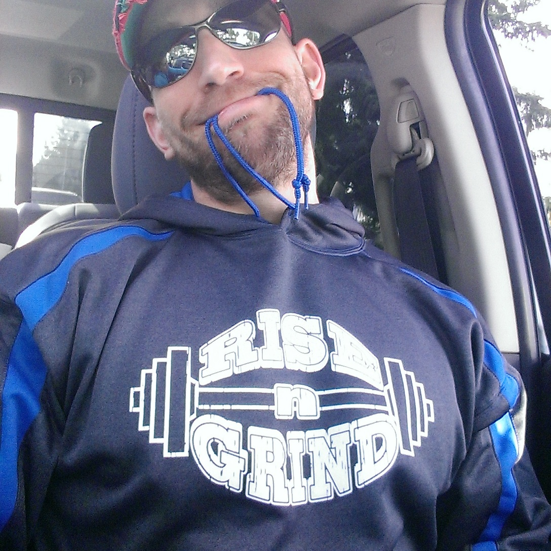 Ryan wearing 'Rise-n-Grind' fashion hoodie