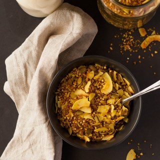 Gluten and Nut Free Granola with two anti-inflammatory spices! Have it sweet or savoury.