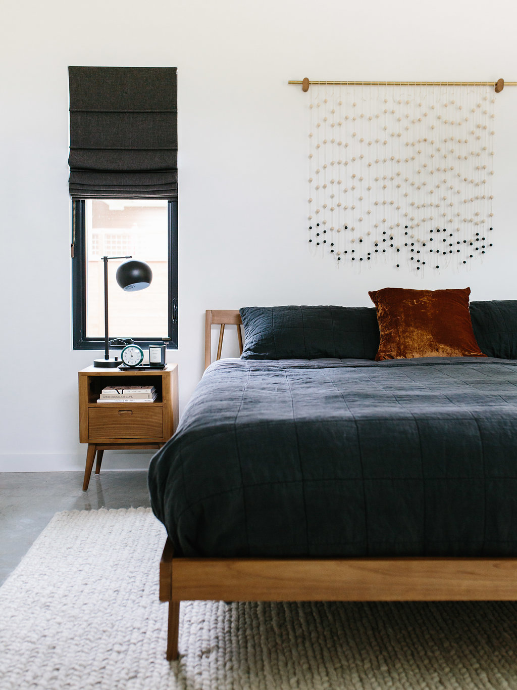 Absorbing Matte Finish This Room Is Most Definitely Walls Rug Is Our Austin Casa Master Bedroom Reveal Gallery Base Cream Walls Are Behr Marquee houzz-03 Mid Century Modern Bed