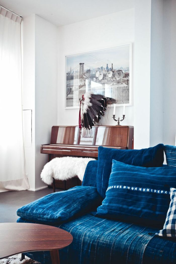 Indigo Denim Sofa worn with stripes