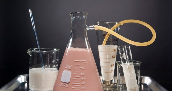 creating chocolate flavored milk in a laboratory