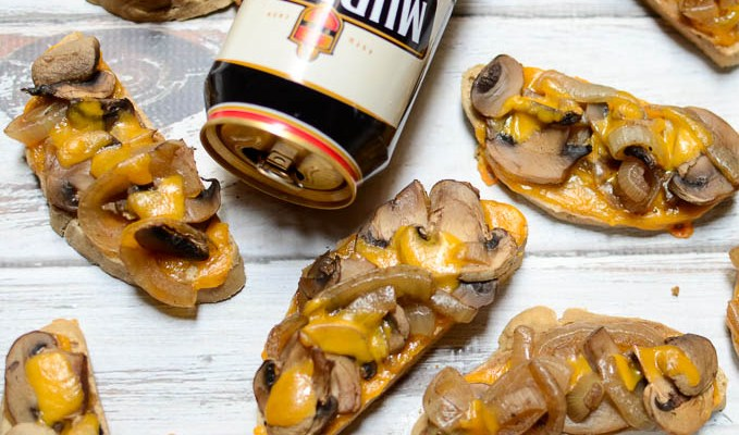 Stout-Soaked Mushroom & Onion Cheddar Toasts