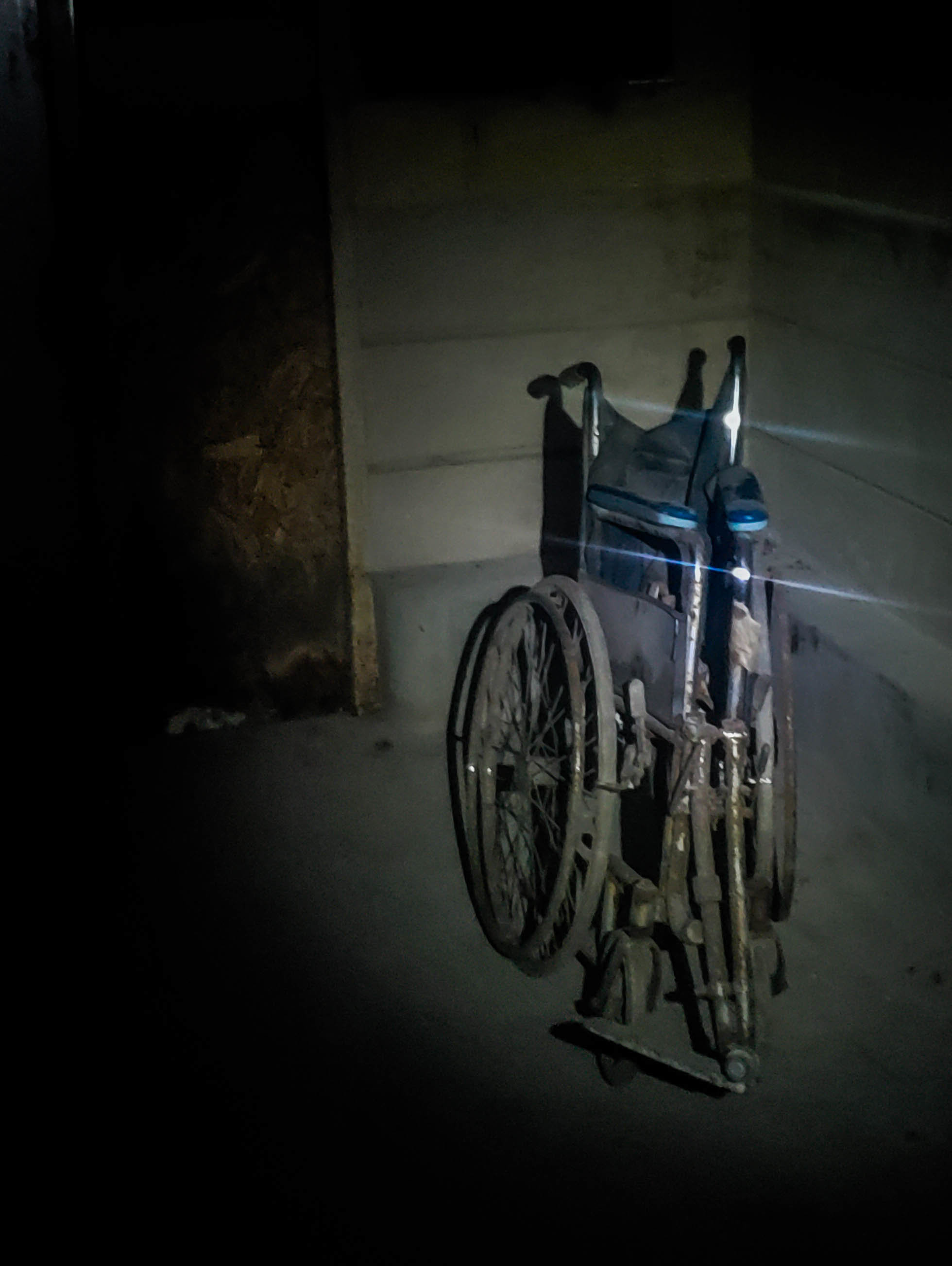 Abandoned wheelchair seen in the tunnels during overnight at Pennhurst