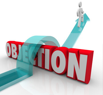 Illustration of a person jumping across the word objection. Representing objections to hiring a caregiver.