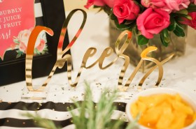 Cheers Acrylic Sign Moon & Lola Fancy Things Kate Spade Bridal Shower