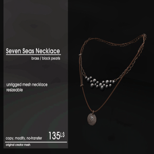 22769 ~ [accessories] Seven Seas Necklace Brass_Black Pearls [