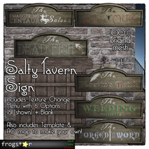Frogstar - Salty Tavern Sign Poster