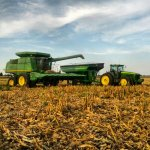 John Deere Combine and Grain Cart