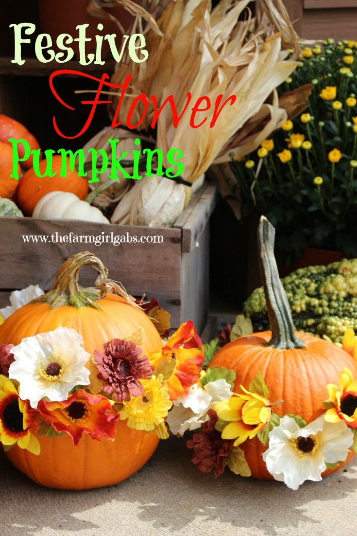 Festive Flower Pumpkins from How Does Your Garden Grow? ~ www.thefarmgirlgabs.com