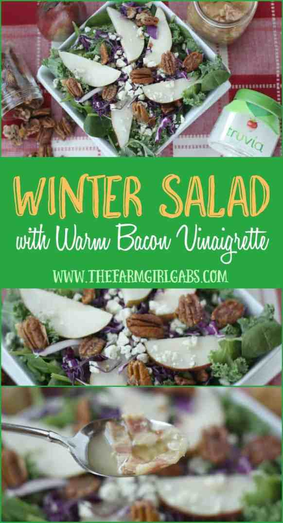 Winter Salad with Candied Pecans, Pears and Warm Bacon Vinaigrette is a healthy menu alternative. [Ad] #SweetNewYear