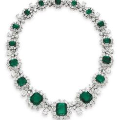 Bulgari emerald and diamond pendant brooch and necklace