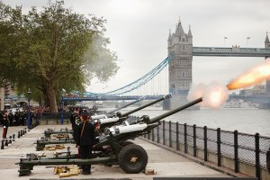 A 62-gun salute from the Tower of London for H.M. Queen Elizabeth II