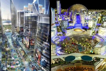 Climate-controlled- The eight million square foot shopping centre will be housed under a dome, while the streets will also be covered so that tourists can shop without getting too hot in the relentless heat of the summer months