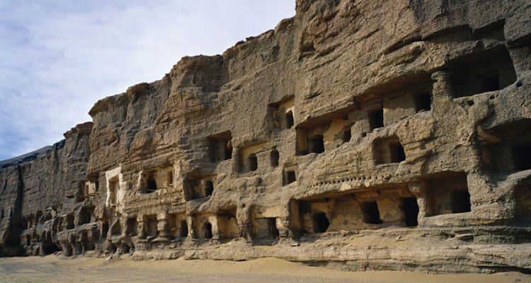 The northern part of the Mogao cliffs, where 248 caves have been found that were living quarters, meditation chambers and burial sites for monks (all photographs supplied by dunhuang academy)