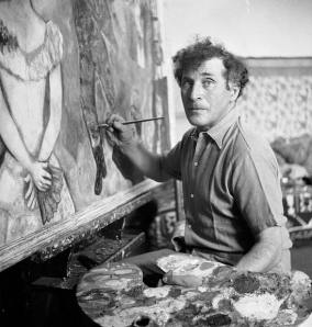 Chagall in his studio in the South of France, near Antibes