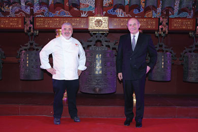 ngelo Bonati & Chef Umberto Bombana at the Tai Miao ancestral hall in Beijing where a gala dinner celebrated O'Clock
