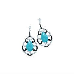 Tiffany pear-shape turquoise and black onyx earrings with diamonds in platinum