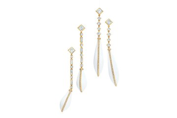 Tiffany-white-agate-earrings-in-18-karat-gold-(from-left)--diamond-long-drop-earrings,-diamond-drop-earrings