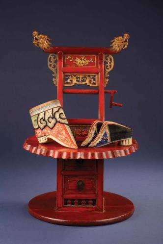 Wooden Chair for Foot-binding and Golden Lotus Shoes