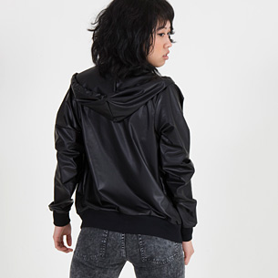 Unisex Matte Faux Leather Hoodie