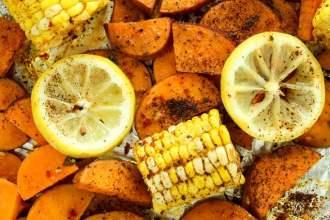 Cajun Roasted Sweet Potato and Corn Bake
