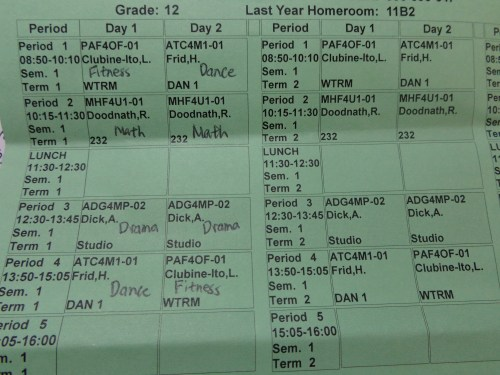 Semester one Schedule.