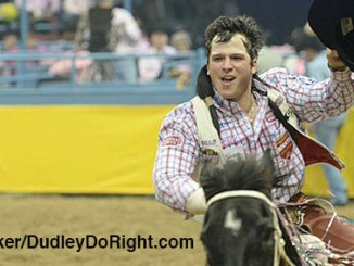 Dubliner and past Tarleton State star Richmond Champion picked up $1,907 in saddle bronc riding, perhaps enough to lock up a second trip to the National Finals Rodeo. || Courtesy DUDLEY BARKER/DudleyDoRight.com