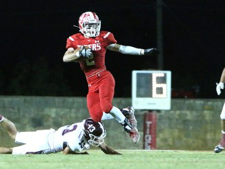Jacob Smith and Hico managed to leap past De Leon in a 34-32 thriller at Tiger Stadium Friday night. || TheFlashToday.com photo by BRAD KEITH