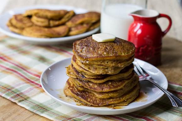 Pumpkin Pancakes with Bourbon Vanilla Maple Syrup recipe photo