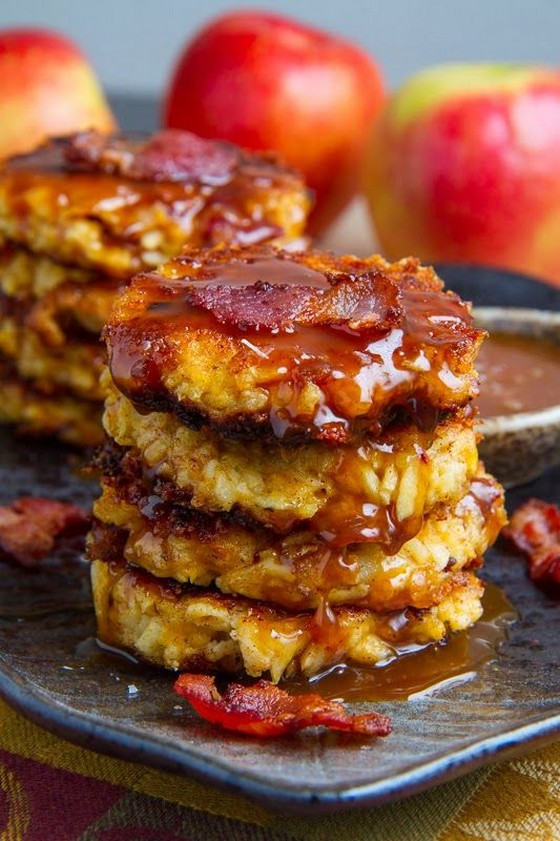 Apple, Cheddar and Bacon Fritters in Caramel Sauce recipe photo