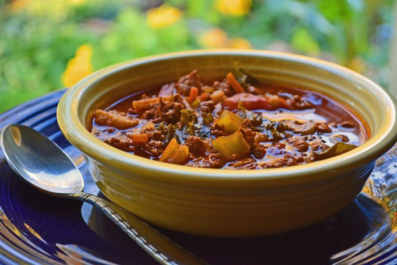 Crockpot Chili Made From Onion Soup, Ground Turkey, and Vegetables recipe photo