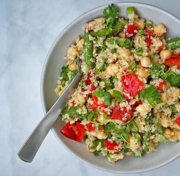 Roasted Asparagus & Red Pepper Quinoa Salad recipe