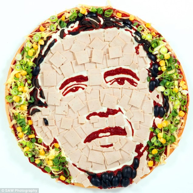 obama pizza portrait