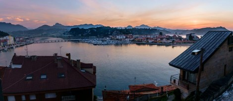 View from our hotel room as the sunset that first evening in Ribadesella!