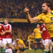 Adam Ashley-Cooper celebrates the winning try as the Lions series goes to the wire. Photo: Getty Images