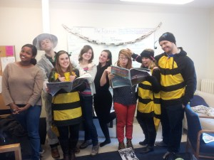 Students drop by the office during the SFUO winter carnival.