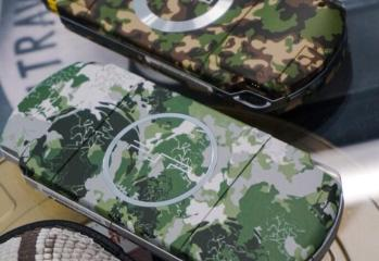 "Two camouflage PSPs, released for Portable Ops and Peace Walker in Japan. Kojima said ""Very precised, very beautiful."" [sic]"