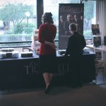 Leesha and Caleb checking out Mark Trammell Quartet's products. (February, 2016)