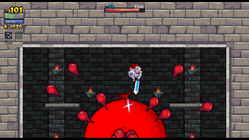 Rogue Legacy screenshot with Khidr - Cellar Door Games - remix bosses - nonlinear difficulty scaling