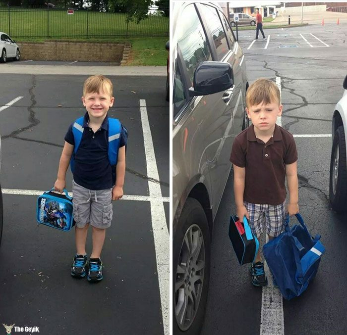 Okuldan önce okulun ilk günü çocuklar 5