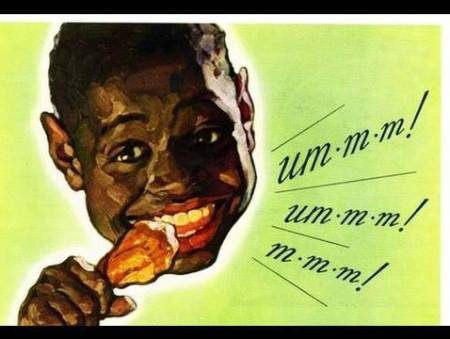 Offensive Caricature Black Man Eating Fried Chicken  | The Girl Next Door is Black