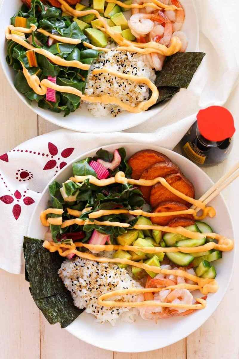 Shrimp Sushi Bowls with Spicy Mayo